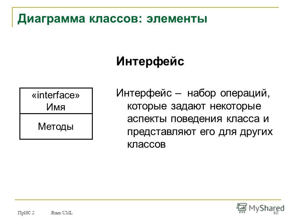 ПрИС 2 Язык UML 60 Диаграмма классов: элементы «interface» Имя Методы Интерфейс Интерфейс – набор операций, которые задают некоторые аспекты поведения класса и представляют его для других классов