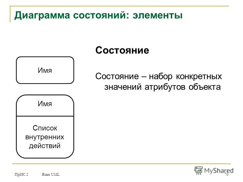 ПрИС 2 Язык UML 70 Диаграмма состояний: элементы Состояние Состояние – набор конкретных значений атрибутов объекта Имя Список внутренних действий
