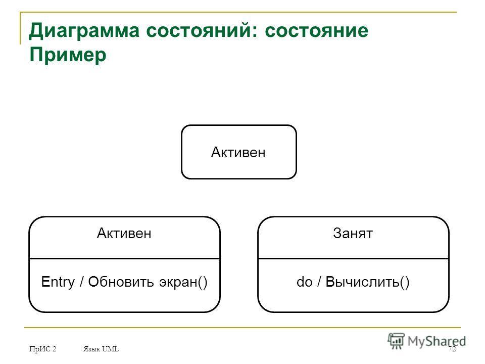 ПрИС 2 Язык UML 72 Диаграмма состояний: состояние Пример Активен Entry / Обновить экран() Занят do / Вычислить()