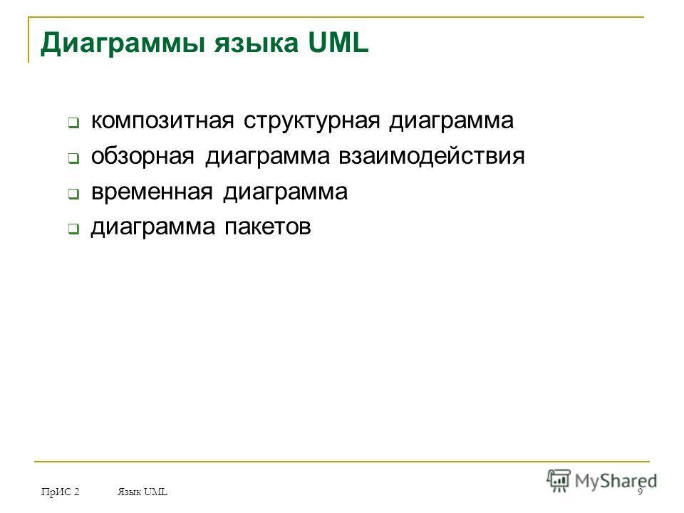 ПрИС 2 Язык UML 9 Диаграммы языка UML композитная структурная диаграмма обзорная диаграмма взаимодействия временная диаграмма диаграмма пакетов
