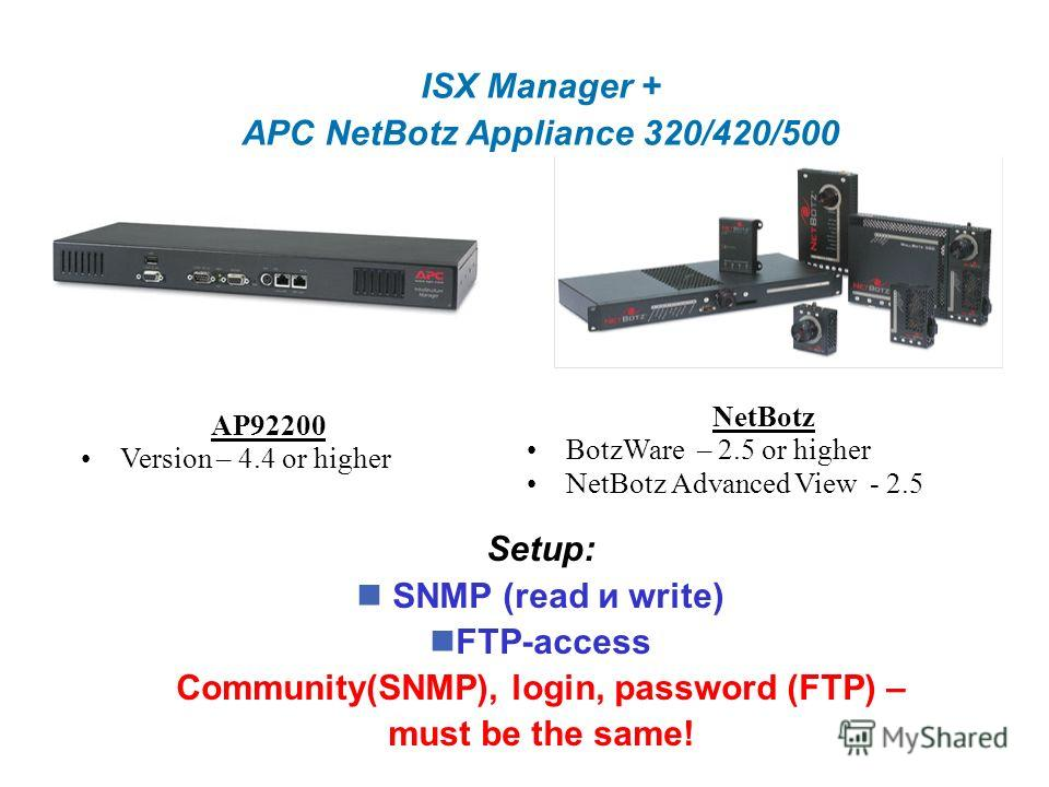ISX Manager + APC NetBotz Appliance 320/420/500 AP92200 Version – 4.4 or higher NetBotz BotzWare – 2.5 or higher NetBotz Advanced View - 2.5 Setup: SNMP (read и write) FTP-access Community(SNMP), login, password (FTP) – must be the same!