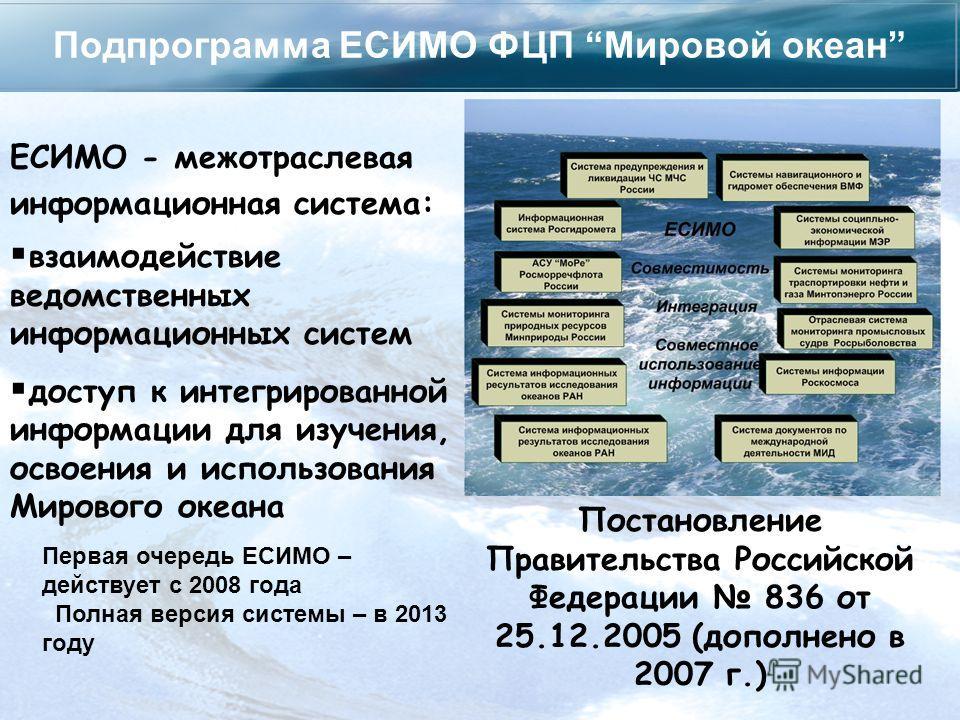 Подпрограмма ЕСИМО ФЦП Мировой океан Постановление Правительства Российской Федерации 836 от 25.12.2005 (дополнено в 2007 г.) взаимодействие ведомственных информационных систем доступ к интегрированной информации для изучения, освоения и использовани