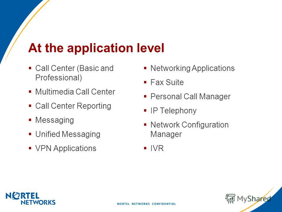 At the application level Call Center (Basic and Professional) Multimedia Call Center Call Center Reporting Messaging Unified Messaging VPN Applications Networking Applications Fax Suite Personal Call Manager IP Telephony Network Configuration Manager