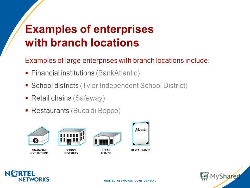 Examples of enterprises with branch locations Examples of large enterprises with branch locations include: Financial institutions (BankAtlantic) School districts (Tyler Independent School District) Retail chains (Safeway) Restaurants (Buca di Beppo)