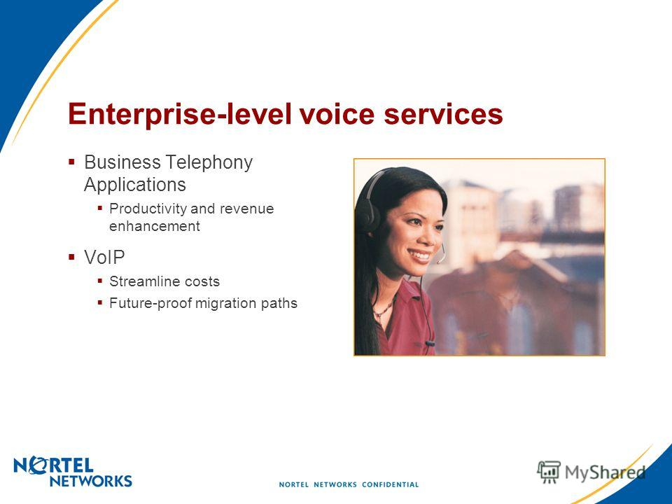 Enterprise-level voice services Business Telephony Applications Productivity and revenue enhancement VoIP Streamline costs Future-proof migration paths