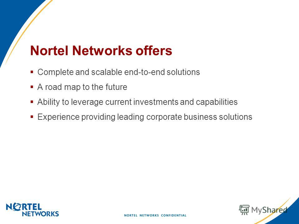 Nortel Networks offers Complete and scalable end-to-end solutions A road map to the future Ability to leverage current investments and capabilities Experience providing leading corporate business solutions