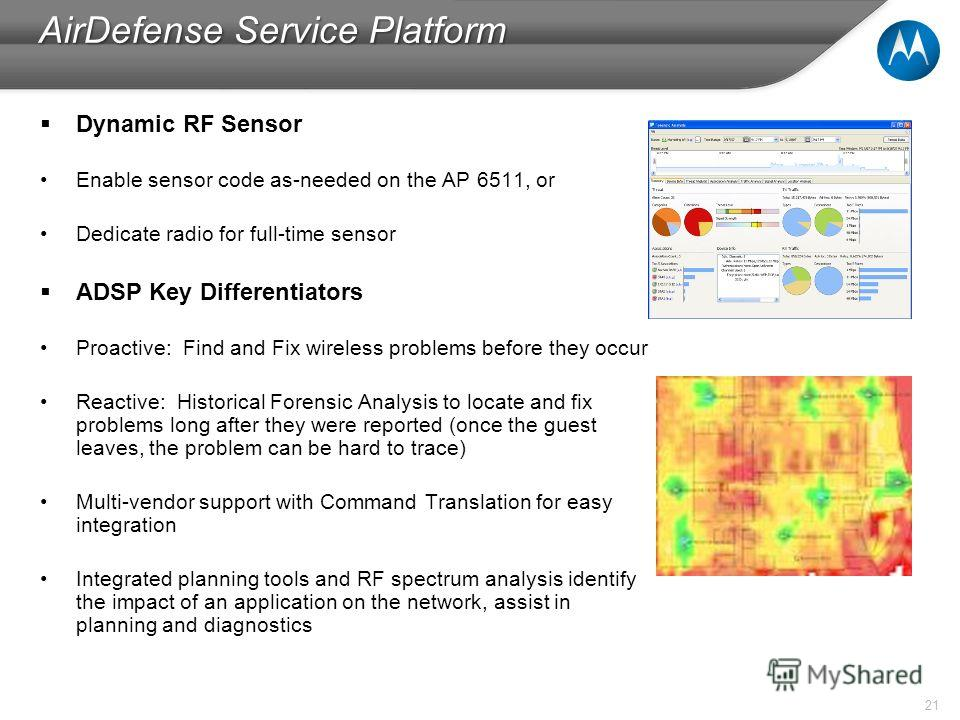 21 AirDefense Service Platform Dynamic RF Sensor Enable sensor code as-needed on the AP 6511, or Dedicate radio for full-time sensor ADSP Key Differentiators Proactive: Find and Fix wireless problems before they occur Reactive: Historical Forensic An