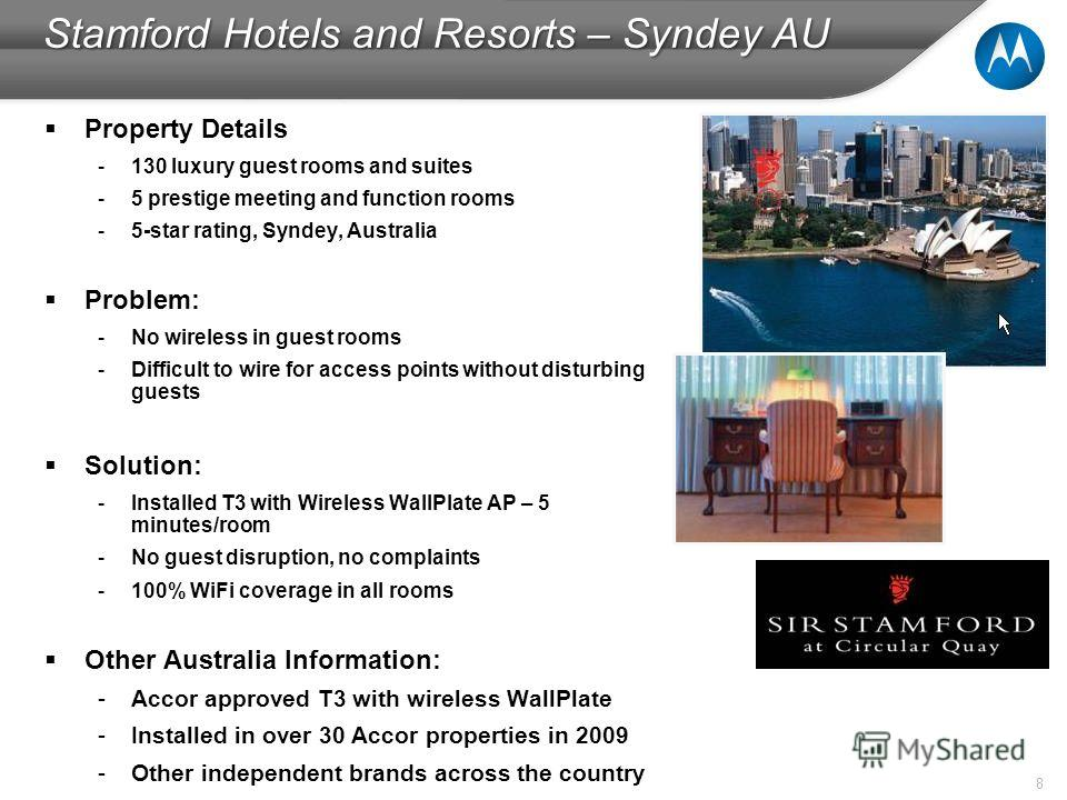 8 Stamford Hotels and Resorts – Syndey AU Property Details -130 luxury guest rooms and suites -5 prestige meeting and function rooms -5-star rating, Syndey, Australia Problem: -No wireless in guest rooms -Difficult to wire for access points without d