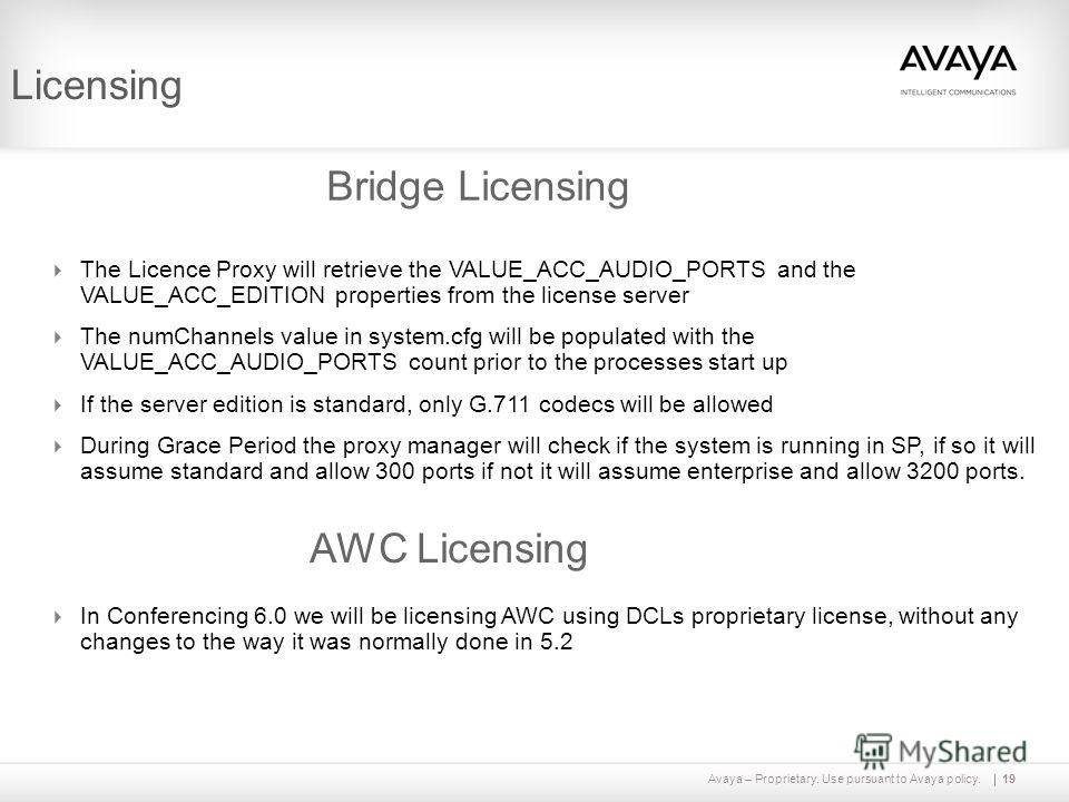 Avaya – Proprietary. Use pursuant to Avaya policy.19 Licensing Bridge Licensing The Licence Proxy will retrieve the VALUE_ACC_AUDIO_PORTS and the VALUE_ACC_EDITION properties from the license server The numChannels value in system.cfg will be populat