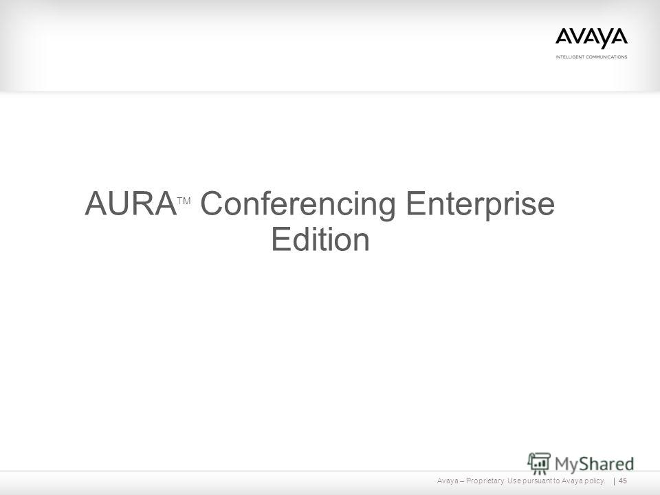 Avaya – Proprietary. Use pursuant to Avaya policy.45 AURA TM Conferencing Enterprise Edition