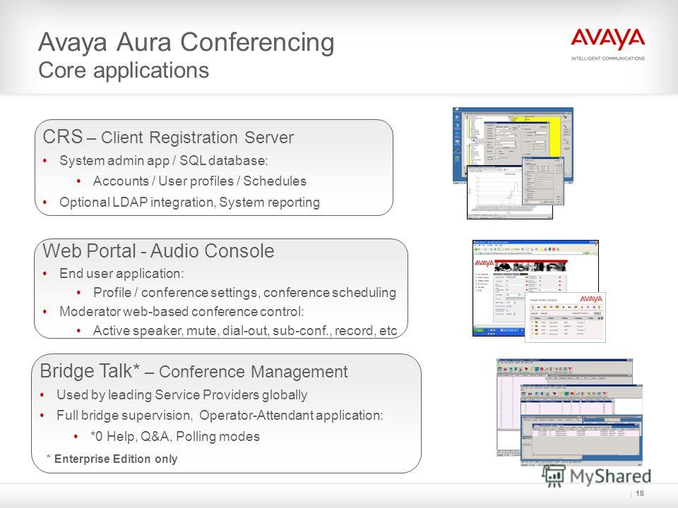 18 Avaya Aura Conferencing Core applications CRS – Client Registration Server System admin app / SQL database: Accounts / User profiles / Schedules Optional LDAP integration, System reporting Web Portal - Audio Console End user application: Profile /