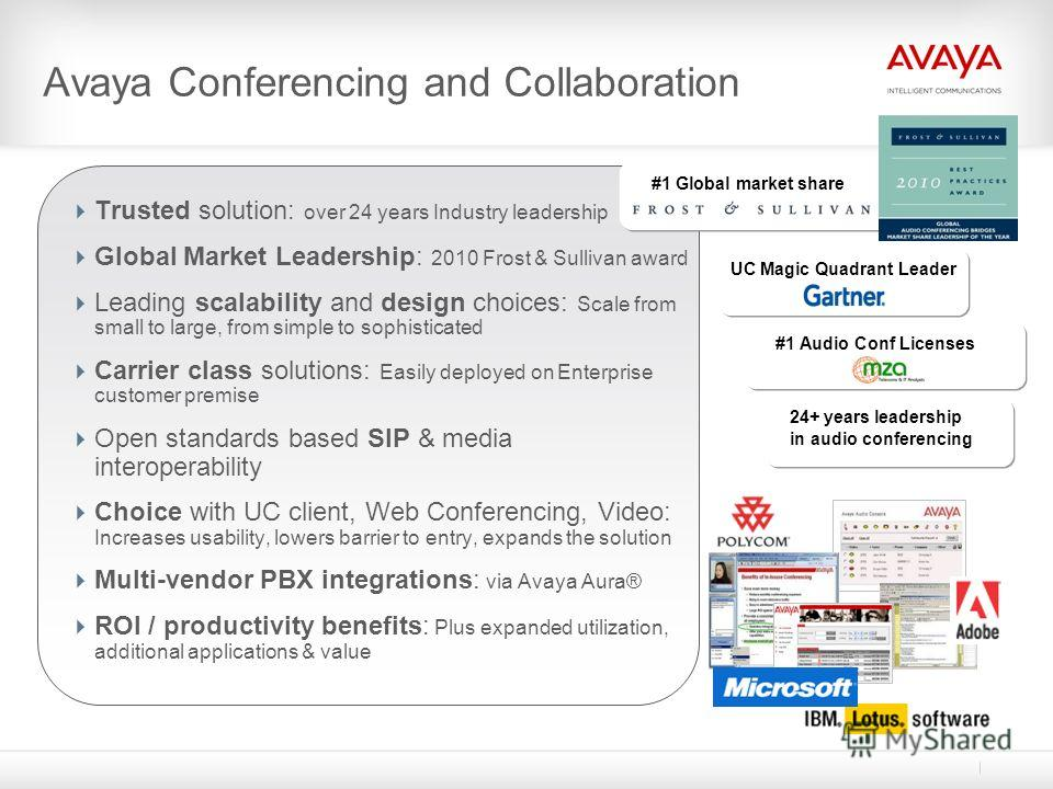 Avaya Conferencing and Collaboration Trusted solution: over 24 years Industry leadership Global Market Leadership: 2010 Frost & Sullivan award Leading scalability and design choices: Scale from small to large, from simple to sophisticated Carrier cla