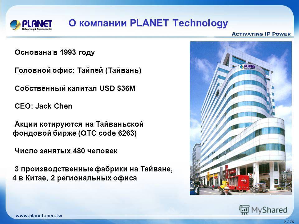 www.planet.com.tw 2 / 76 О компании PLANET Technology Основана в 1993 году Головной офис: Тайпей (Тайвань) Собственный капитал USD $36M CEO: Jack Chen Акции котируются на Тайваньской фондовой бирже (OTC code 6263) Число занятых 480 человек 3 производ