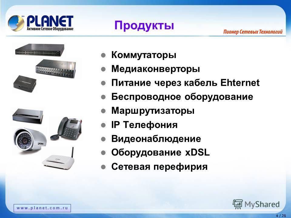 www.planet.com.tw 4 / 76 4 / 23 Продукты Коммутаторы Медиаконверторы Питание через кабель Ehternet Беспроводное оборудование Маршрутизаторы IP Телефония Видеонаблюдение Оборудование xDSL Сетевая периферия www.planet.com.ru