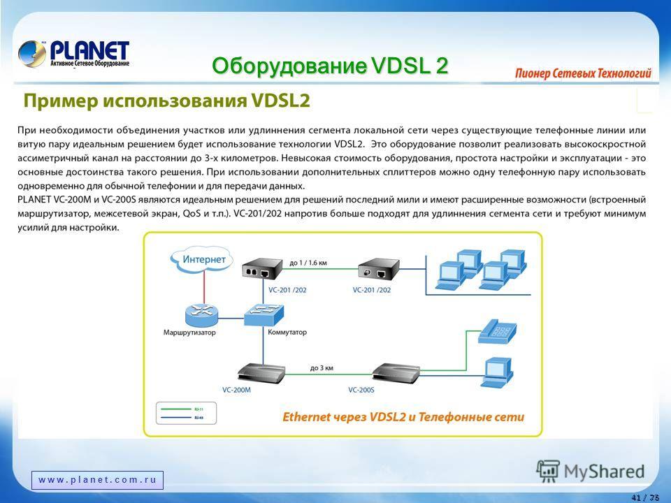 www.planet.com.tw 41 / 76 41 / 23 www.planet.com.ru Оборудование VDSL 2