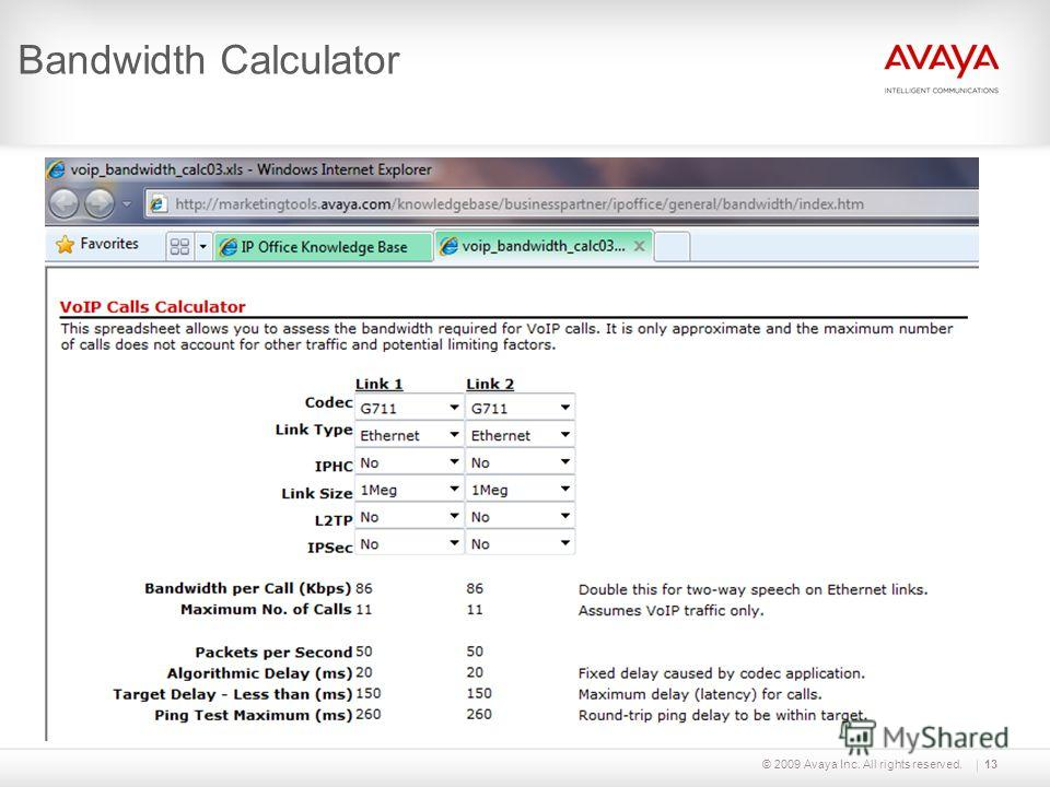 © 2009 Avaya Inc. All rights reserved.13 Bandwidth Calculator