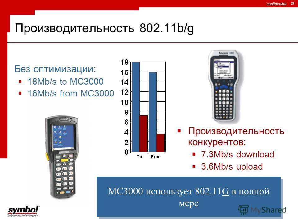 confidential 21 Производительность 802.11b/g Без оптимизации: 18Mb/s to MC3000 16Mb/s from MC3000 Производительность конкурентов: 7.3Mb/s download 3.6Mb/s upload MC3000 использует 802.11G в полной мере