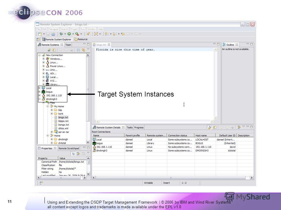 Using and Extending the DSDP Target Management Framework | © 2006 by IBM and Wind River Systems all content except logos and trademarks is made available under the EPL v1.0 11 Target System Instances