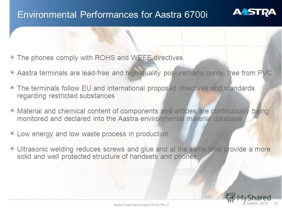 © Aastra - 2013 37 Sales Presentation Aastra 6700i Rev C Environmental Performances for Aastra 6700i The phones comply with ROHS and WEEE directives Aastra terminals are lead-free and high-quality polyurethane cords, free from PVC The terminals follo