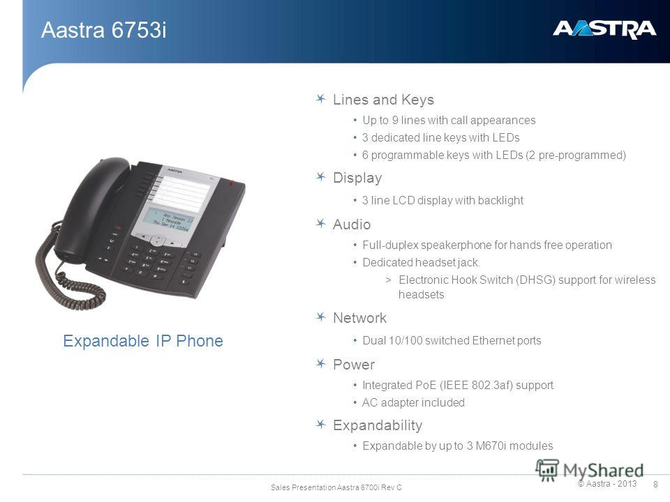 © Aastra - 2013 8 Sales Presentation Aastra 6700i Rev C Aastra 6753i Lines and Keys Up to 9 lines with call appearances 3 dedicated line keys with LEDs 6 programmable keys with LEDs (2 pre-programmed) Display 3 line LCD display with backlight Audio F