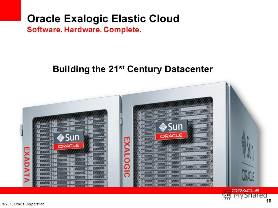 10 © 2010 Oracle Corporation Oracle Exalogic Elastic Cloud Software. Hardware. Complete. Building the 21 st Century Datacenter
