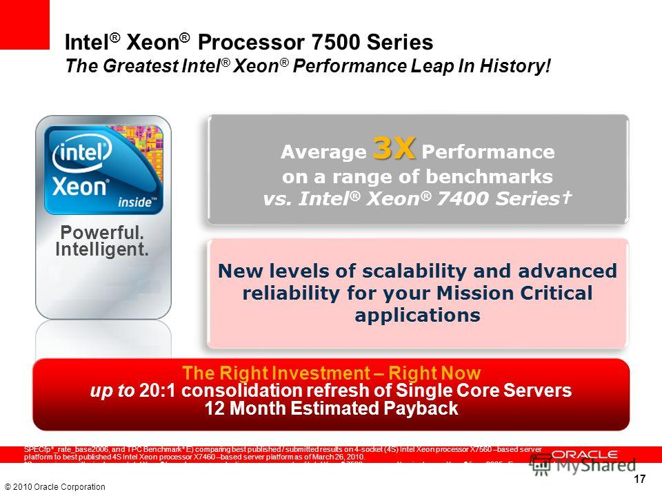 17 © 2010 Oracle Corporation Intel ® Xeon ® Processor 7500 Series The Greatest Intel ® Xeon ® Performance Leap In History! Average of 3x performance claim based on geometric mean of four industry-standard, common enterprise benchmarks (SPECjbb*2005,
