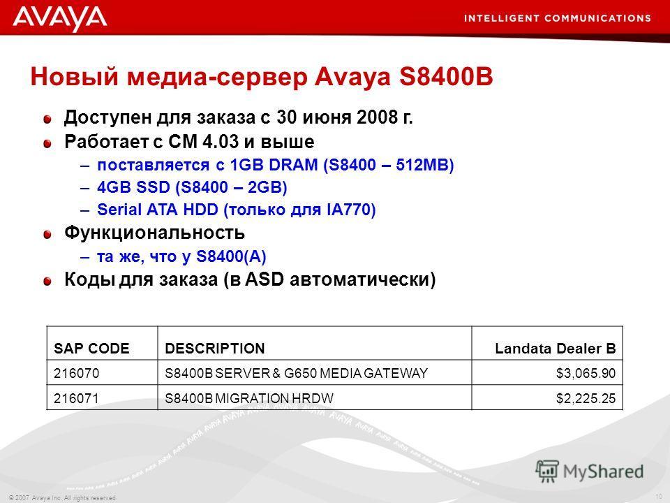 10 © 2007 Avaya Inc. All rights reserved. Новый медиа-сервер Avaya S8400B Доступен для заказа с 30 июня 2008 г. Работает с СМ 4.03 и выше –поставляется с 1GB DRAM (S8400 – 512MB) –4GB SSD (S8400 – 2GB) –Serial ATA HDD (только для IA770) Функционально