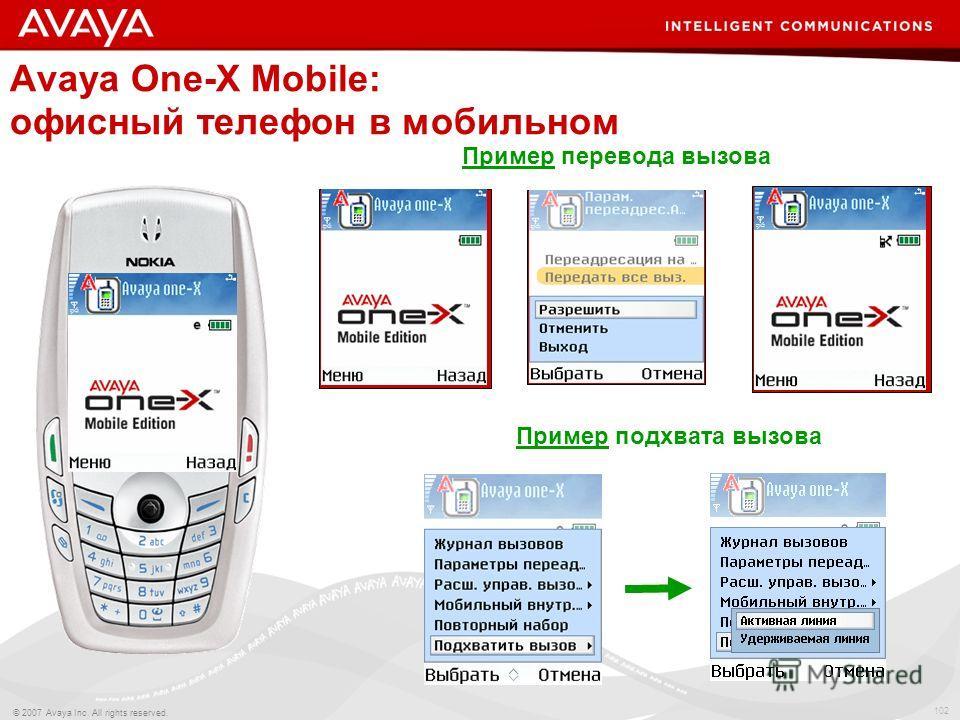 102 © 2007 Avaya Inc. All rights reserved. Avaya One-X Mobile: офисный телефон в мобильном Пример перевода вызова Пример подхвата вызова