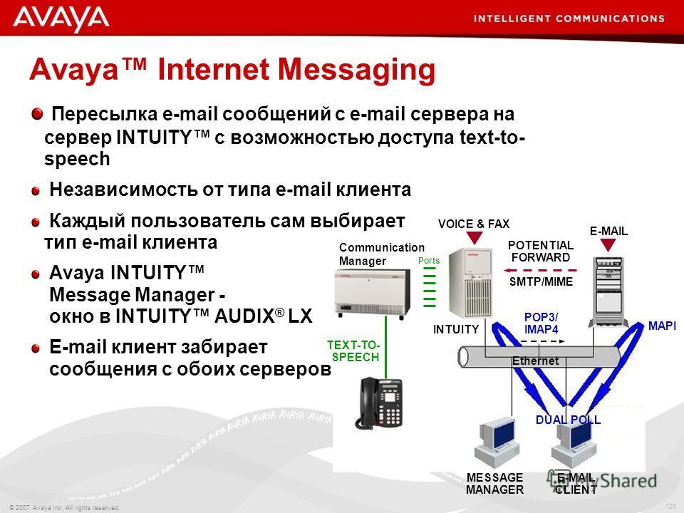 129 © 2007 Avaya Inc. All rights reserved. Пересылка e-mail сообщений с e-mail сервера на сервер INTUITY с возможностью доступа text-to- speech Независимость от типа e-mail клиента Каждый пользователь сам выбирает тип e-mail клиента Avaya INTUITY Mes