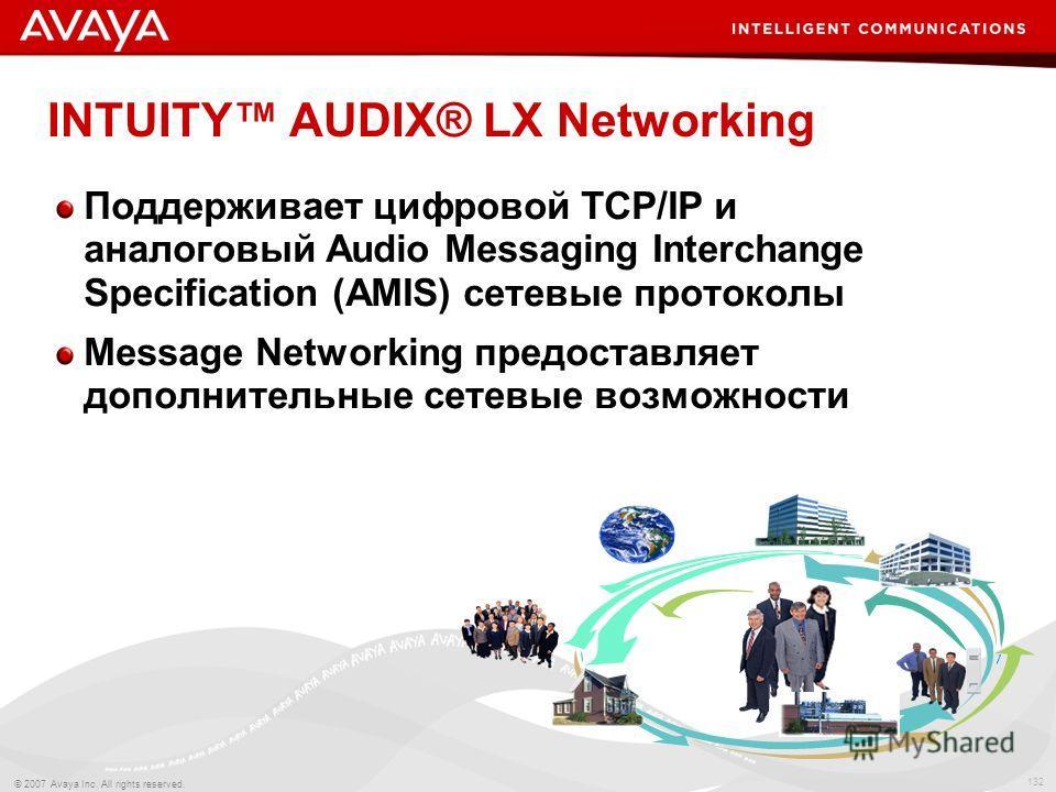 132 © 2007 Avaya Inc. All rights reserved. INTUITY AUDIX® LX Networking Поддерживает цифровой TCP/IP и аналоговый Audio Messaging Interchange Specification (AMIS) сетевые протоколы Message Networking предоставляет дополнительные сетевые возможности