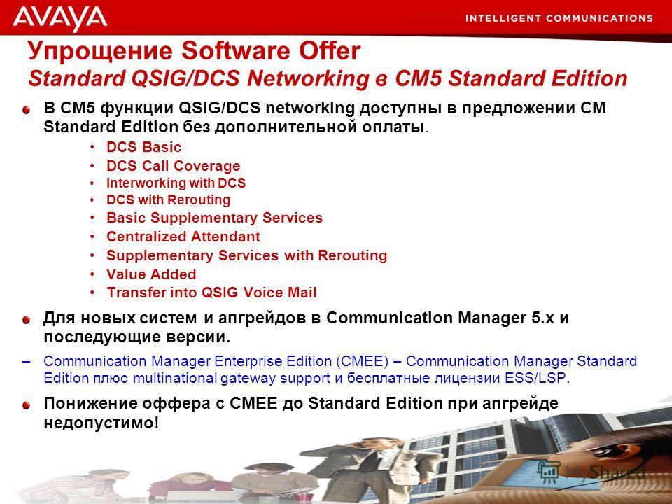 49 © 2007 Avaya Inc. All rights reserved. Упрощение Software Offer Standard QSIG/DCS Networking в CM5 Standard Edition В CM5 функции QSIG/DCS networking доступны в предложении CM Standard Edition без дополнительной оплаты. DCS Basic DCS Call Coverage