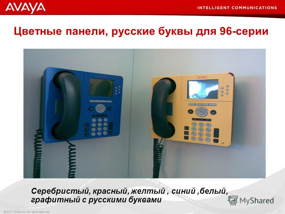 87 © 2007 Avaya Inc. All rights reserved. Цветные панели, русские буквы для 96-серии Серебристый, красный, желтый, синий,белый, графитный с русскими буквами