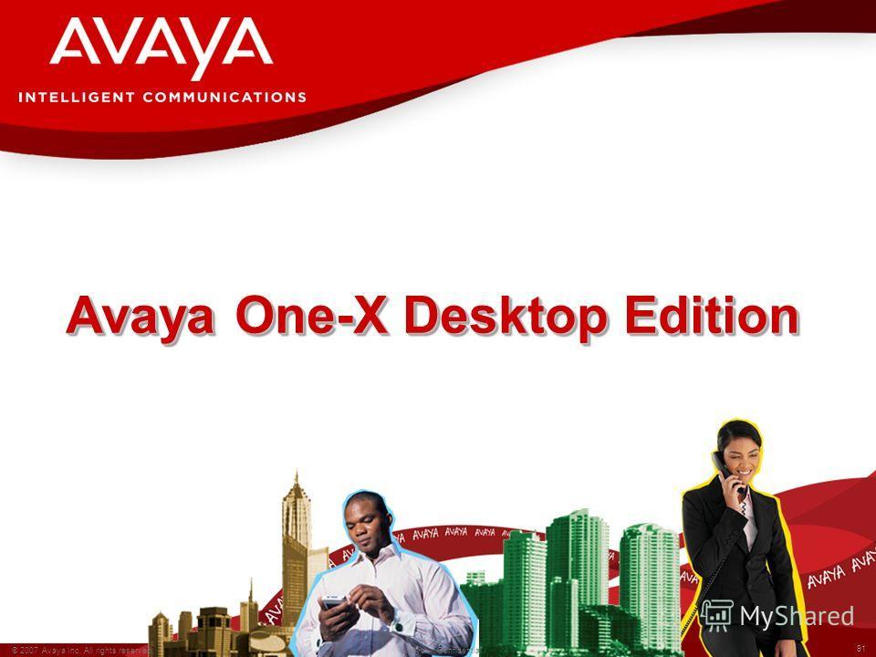 91 © 2007 Avaya Inc. All rights reserved. Avaya – Confidential Avaya One-X Desktop Edition