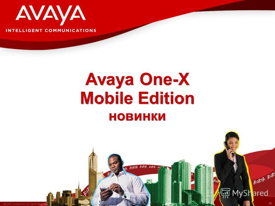 98 © 2007 Avaya Inc. All rights reserved. Avaya – Confidential Avaya One-X Mobile Edition новинки
