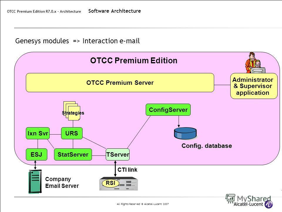 All Rights Reserved © Alcatel-Lucent 2007 Genesys modules => Interaction e-mail CTI link RSI TServer ConfigServer StatServer URS Strategies OTCC Premium Edition Company Email Server ESJ Ixn Svr Administrator & Supervisor application OTCC Premium Serv