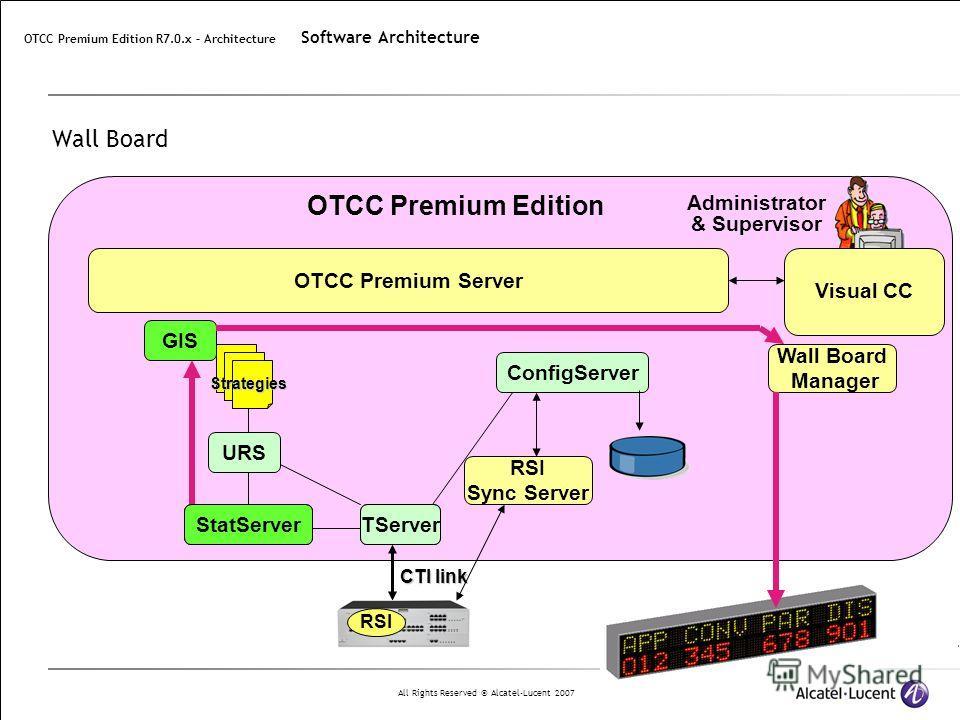 All Rights Reserved © Alcatel-Lucent 2007 StatServer Wall Board CTI link RSI TServer ConfigServer StatServer URS Strategies OTCC Premium Edition Visual CC OTCC Premium Server Administrator & Supervisor RSI Sync Server TServer OTCC Premium Edition R7.
