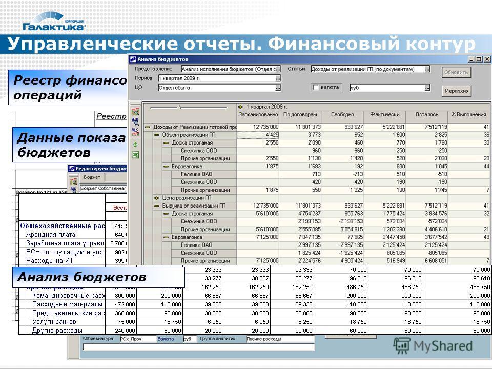 Управленческие отчеты. Финансовый контур Реестр финансовых операций Данные показателей бюджетов Анализ бюджетов