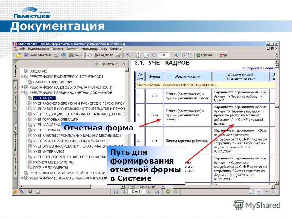Документация Отчетная форма Путь для формирования отчетной формы в Системе