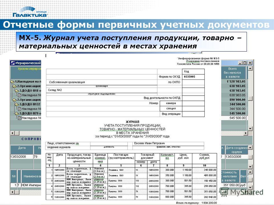 Отчетные формы первичных учетных документов МХ-5. Журнал учета поступления продукции, товарно – материальных ценностей в местах хранения