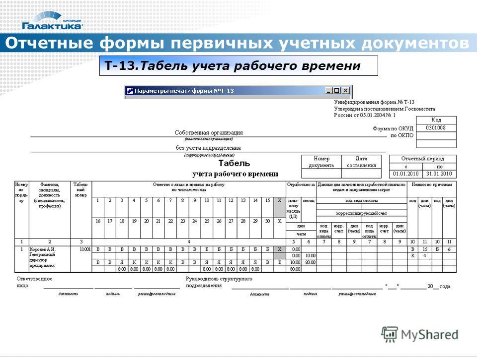 Отчетные формы первичных учетных документов Т-13. Табель учета рабочего времени