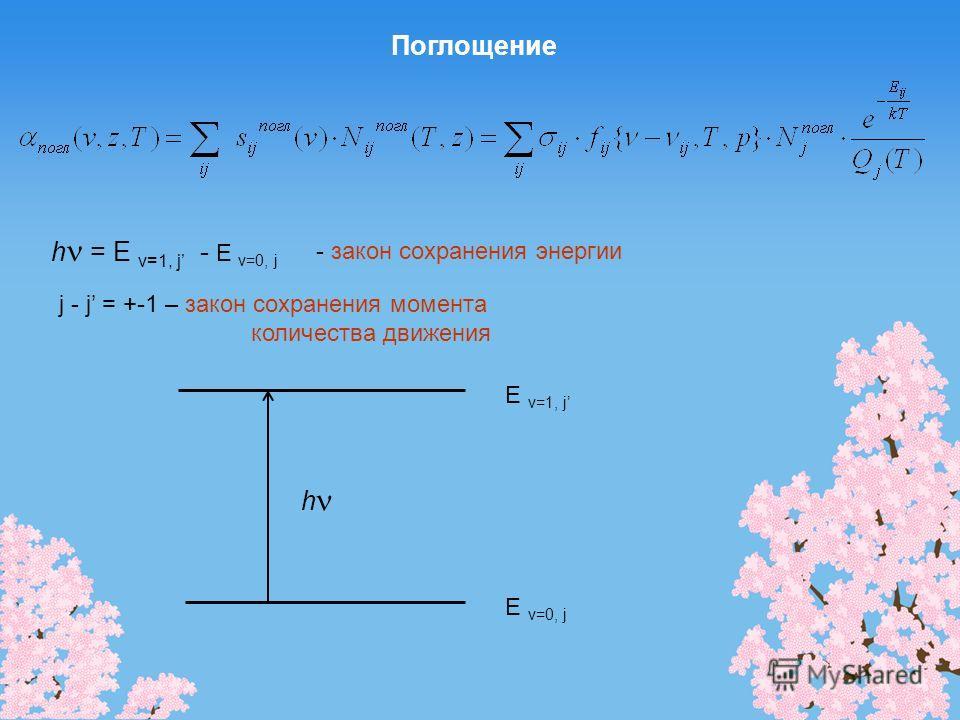 Поглощение E v=0, j E v=1, j h h = E v=1, j - E v=0, j - закон сохранения энергии j - j = +-1 – закон сохранения момента количества движения