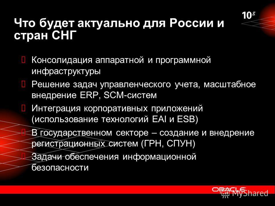 Что будет актуально для России и стран СНГ Консолидация аппаратной и программной инфраструктуры Решение задач управленческого учета, масштабное внедрение ERP, SCM-систем Интеграция корпоративных приложений (использование технологий EAI и ESB) В госуд