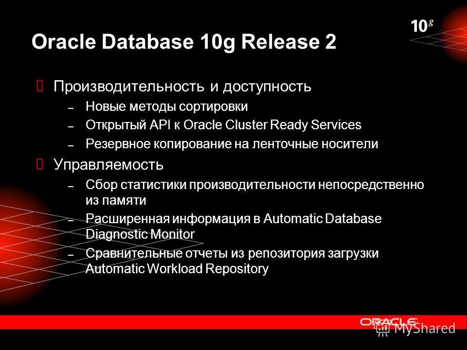 Oracle Database 10g Release 2 Производительность и доступность – Новые методы сортировки – Открытый API к Oracle Cluster Ready Services – Резервное копирование на ленточные носители Управляемость – Сбор статистики производительности непосредственно и