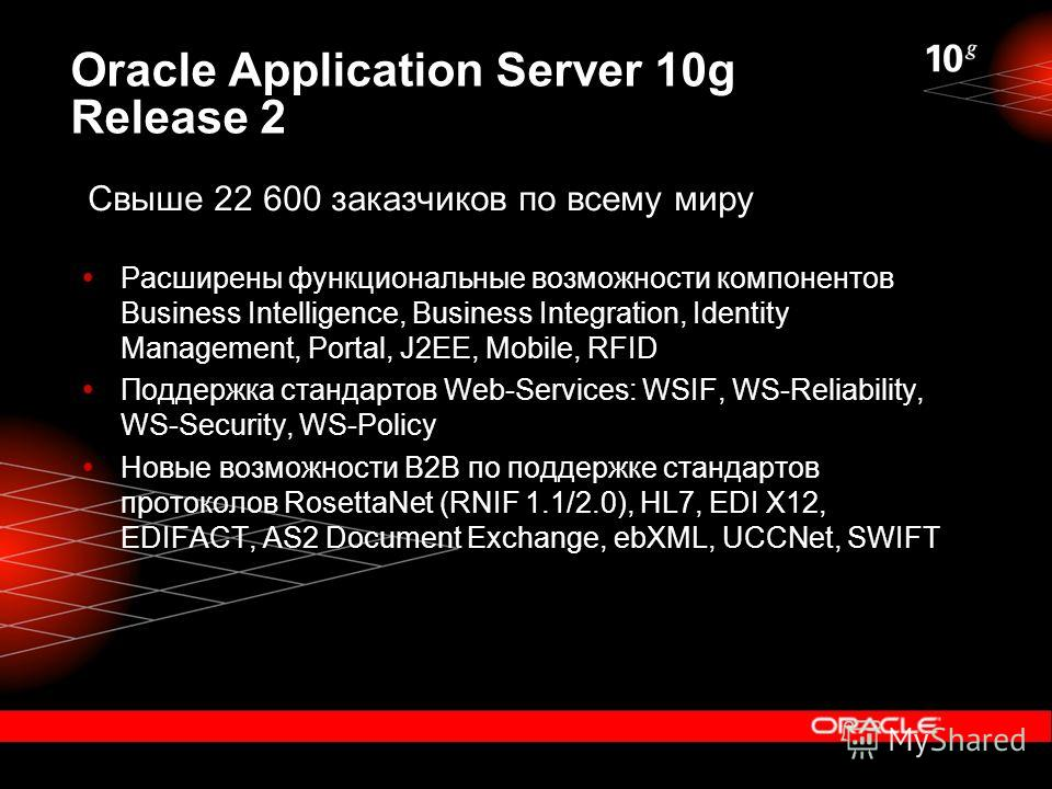 Oracle Application Server 10g Release 2 Расширены функциональные возможности компонентов Business Intelligence, Business Integration, Identity Management, Portal, J2EE, Mobile, RFID Поддержка стандартов Web-Services: WSIF, WS-Reliability, WS-Security