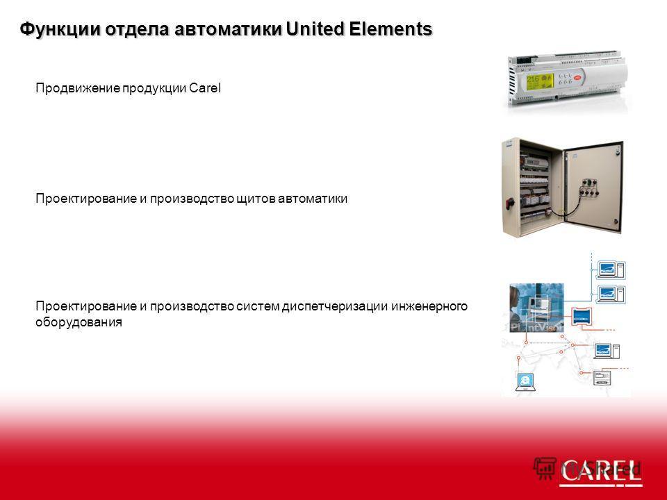 Функции отдела автоматики United Elements Продвижение продукции Carel Проектирование и производство щитов автоматики Проектирование и производство систем диспетчеризации инженерного оборудования