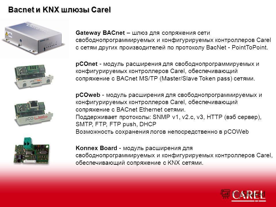 Bacnet и KNX шлюзы Carel Gateway BACnet – шлюз для сопряжения сети свободно программируемых и конфигурируемых контроллеров Carel с сетям других производителей по протоколу BacNet - PointToPoint. pCOnet - модуль расширения для свободно программируемых