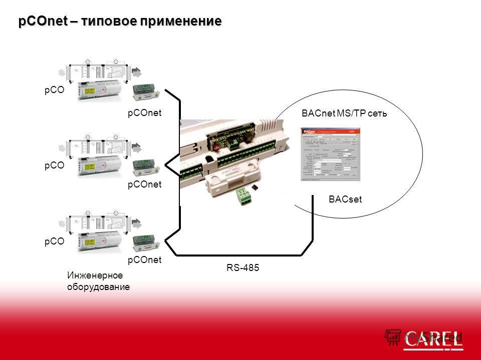 ? pCOnet – типовое применение pCOnet Инженерное оборудование BACnet MS/TP сеть RS-485 pCOnet pCO BACset