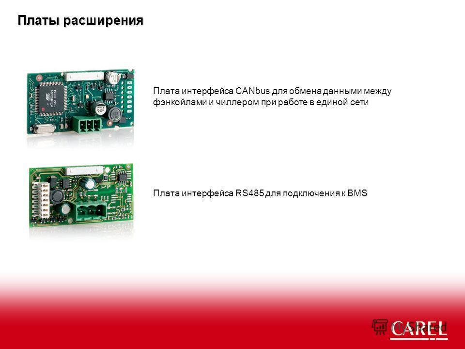 Плата интерфейса RS485 для подключения к BMS Плата интерфейса CANbus для обмена данными между фэнкойлами и чиллером при работе в единой сети Платы расширения