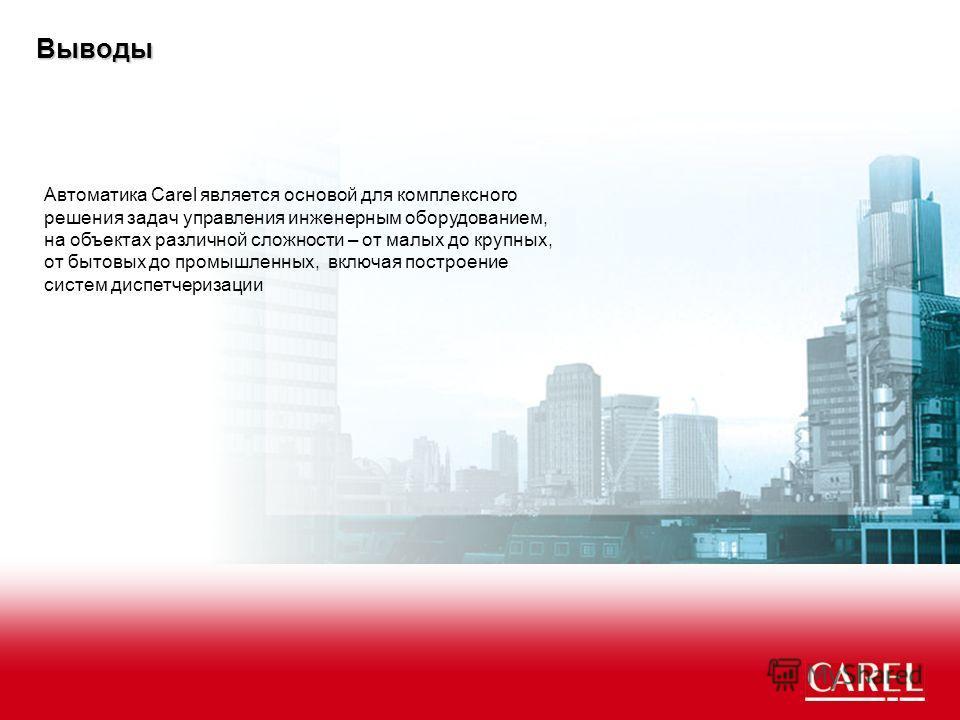 Выводы Автоматика Carel является основой для комплексного решения задач управления инженерным оборудованием, на объектах различной сложности – от малых до крупных, от бытовых до промышленных, включая построение систем диспетчеризации