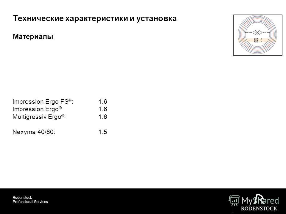 Rodenstock Professional Services Материалы Технические характеристики и установка Impression Ergo FS ® : 1.6 Impression Ergo ®: 1.6 Multigressiv Ergo ®: 1.6 Nexyma 40/80: 1.5